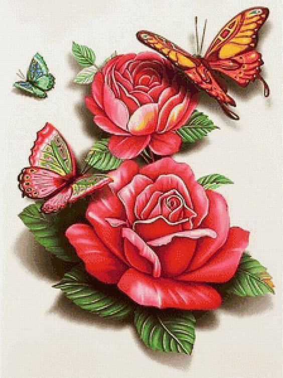 Алмазная мозаика набор Бабочки на розах DM-327 40x30см Полная зашивка. Набор алмазной вышивки