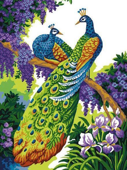 Алмазная мозаика Павлины на ветке DM-300 30х40см Полная заш набор алмазной вышивки Птицы, животные