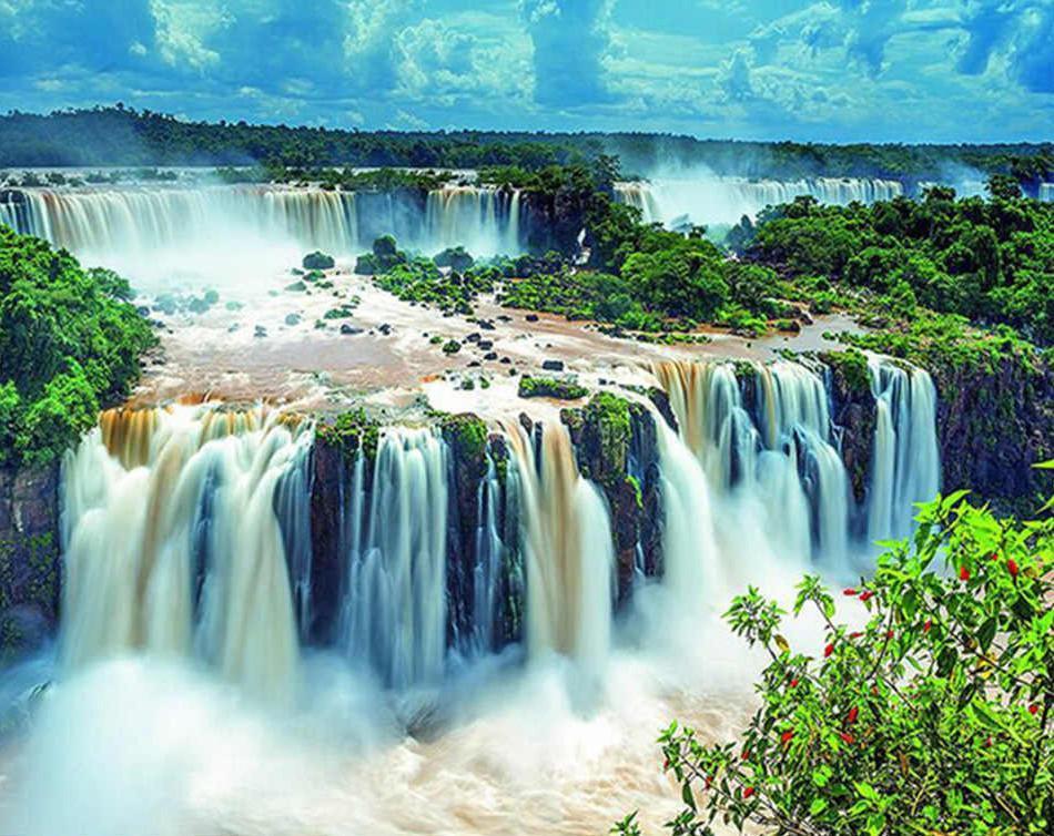 Алмазная мозаика Живописный водопад DM-337 50х40см Полная заш набор алмазной вышивки пейзаж водопад