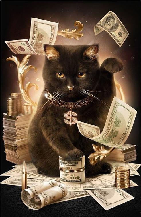 Алмазная мозаика Денежный кот DM-347 30х40см Полная зашивка. Набор алмазной вышивки животные кошки