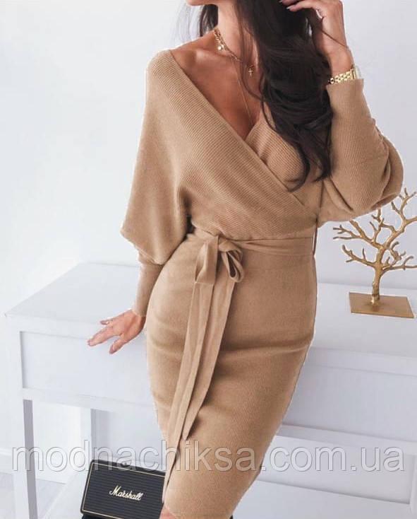 Платье фальш-запах с поясом
