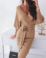 Платье фальш-запах с поясом, фото 1