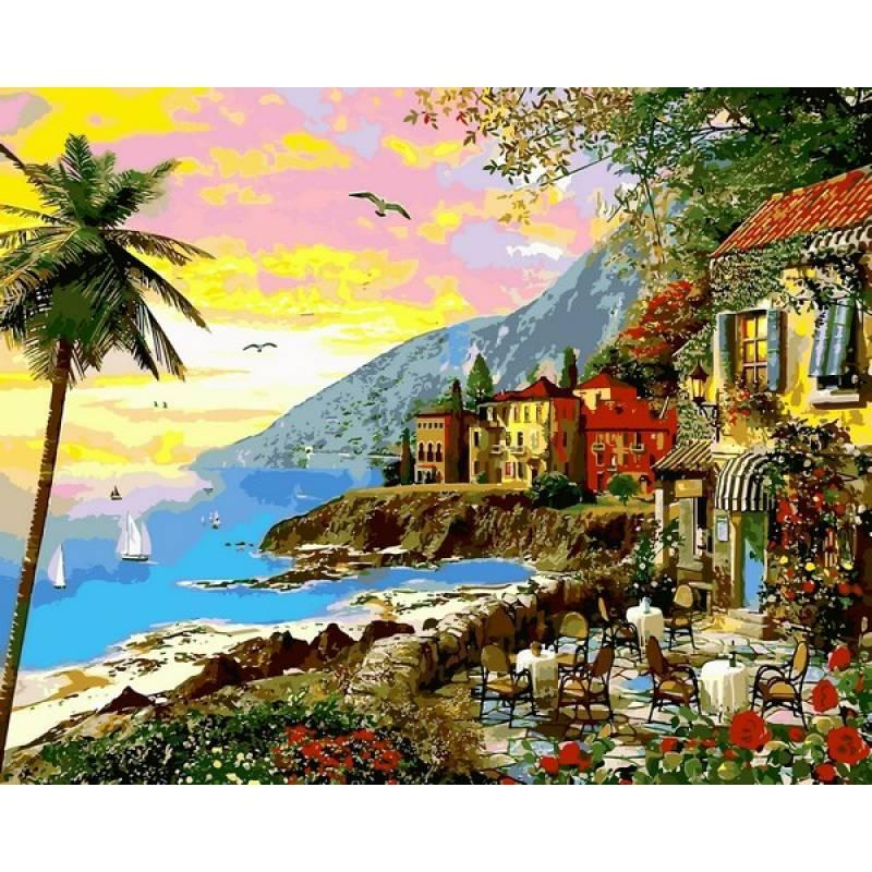 Картина рисование по номерам Babylon Анталийское побережье Турции 40х50см VP1149 набор для росписи, краски,