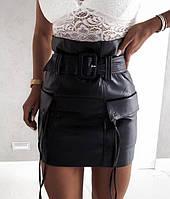 Мини юбка на поясе с карманами, фото 1