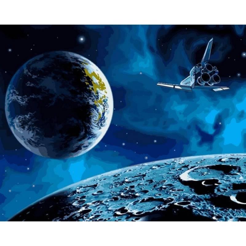 Картина рисование по номерам Babylon На Луну и обратно 40х50см VP741 набор для росписи, краски, кисти, холст