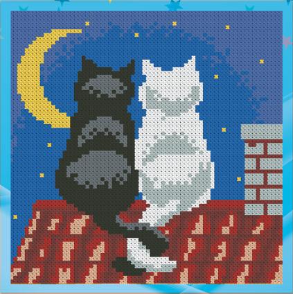 Алмазная мозаика для детей Коты на крыше UA-003 18х18см Набор алмазной вышивки 11 цв, квадратные,