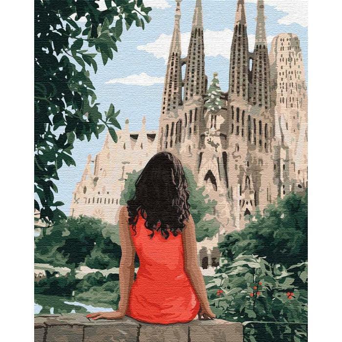 Картина рисование по номерам Подорожуючи Барселоною, 40x50 см., Идейка набор для росписи, краски, кисти, холст