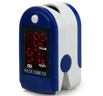 Пульсоксиметр, прибор для измерения кислорода в крови, датчик пульса на палец UKC JK-302 5309, белый с синим