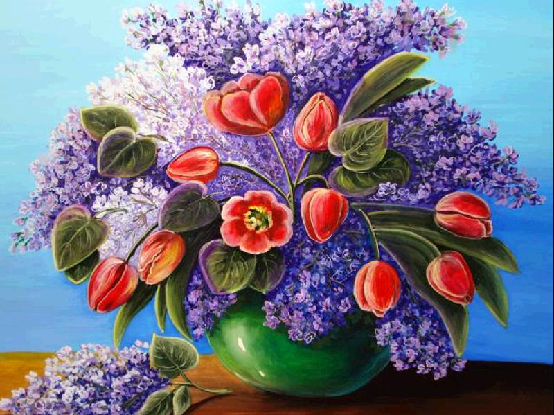 Алмазная мозаика Тюльпаны и сирень 40x30см DM-204 Полная зашивка. Набор алмазной вышивки