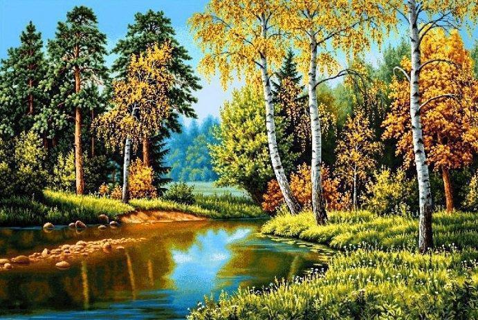 Алмазная мозаика Осень в лесу 50x30см DM-258 Полная зашивка. Набор алмазной вышивки