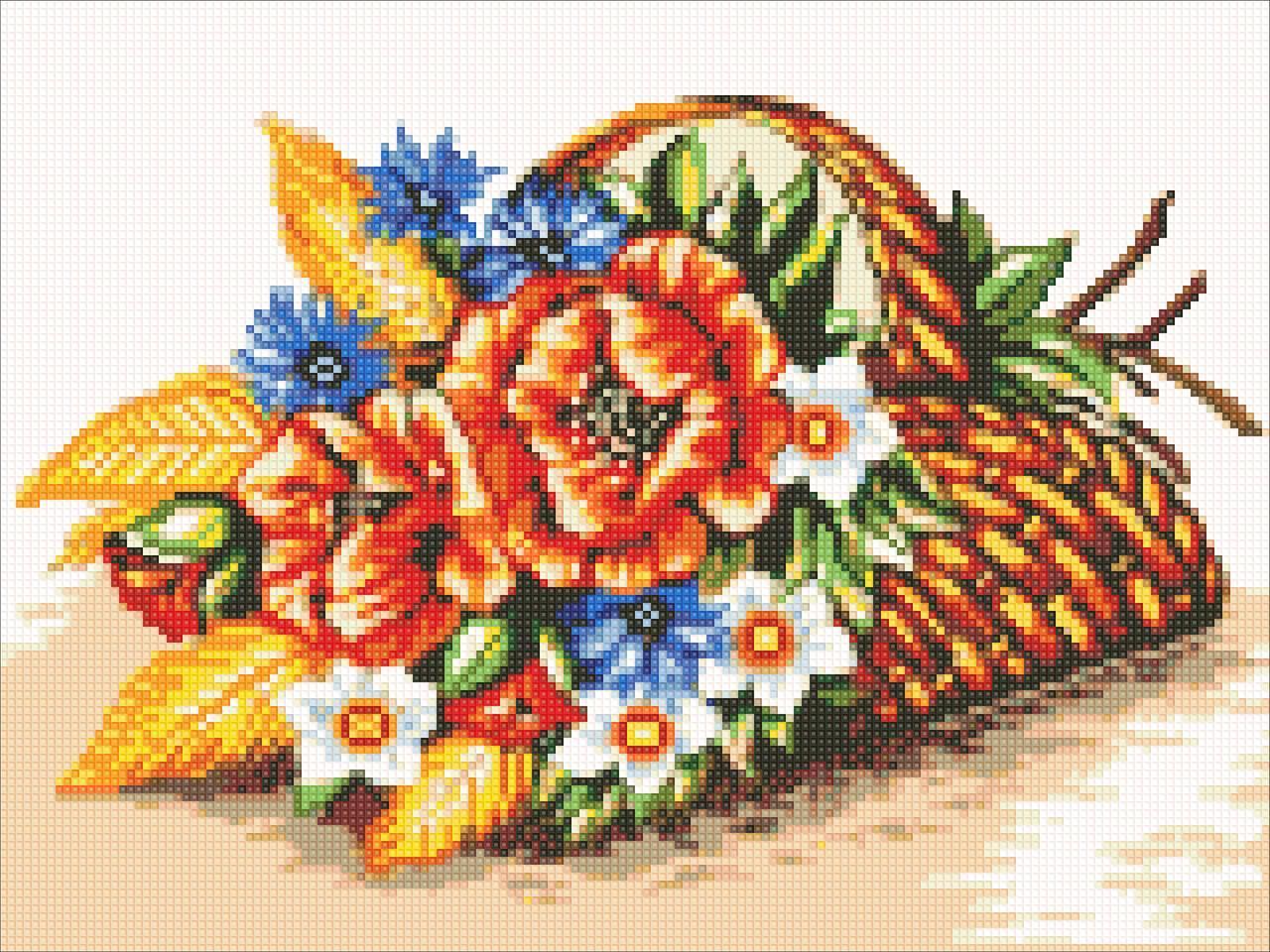 Алмазная мозаика Полевые цветы DM-307 40х30см Полная зашивка. Набор алмазной вышивки цветы