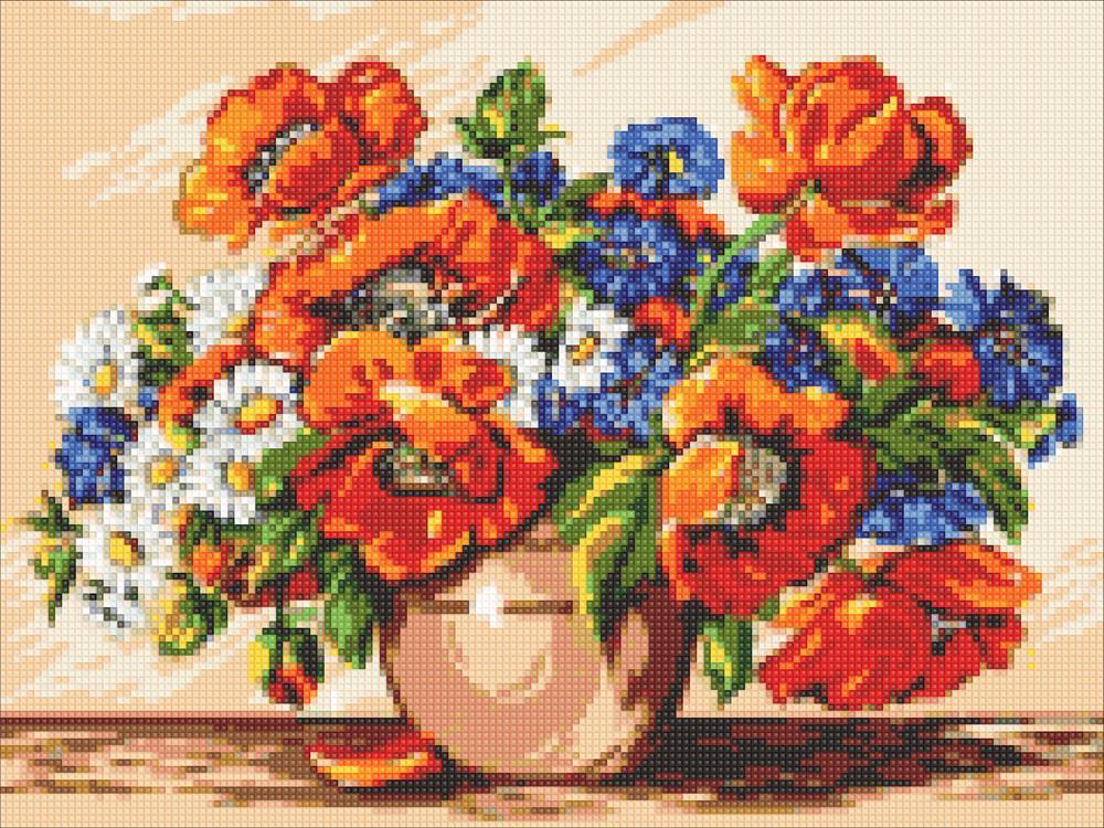 Алмазная мозаика Букет маков DM-308 40х30см Полная зашивка. Набор алмазной вышивки цветы