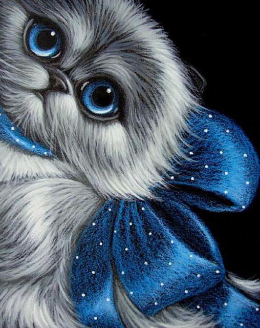 Алмазная мозаика Котенок с синим бантом DM-341 30х40см Полная заш набор алмазной вышивки животные