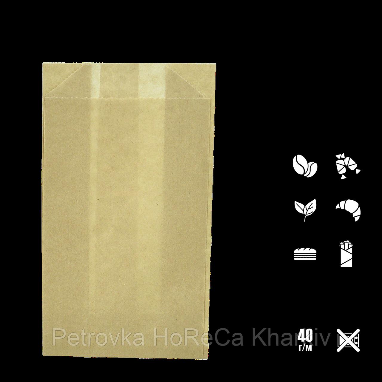 Бумажный пакет без ручек крафтовый 170х100х50мм (ВхШхГ) 40г/м² 100шт (116/612/1196)