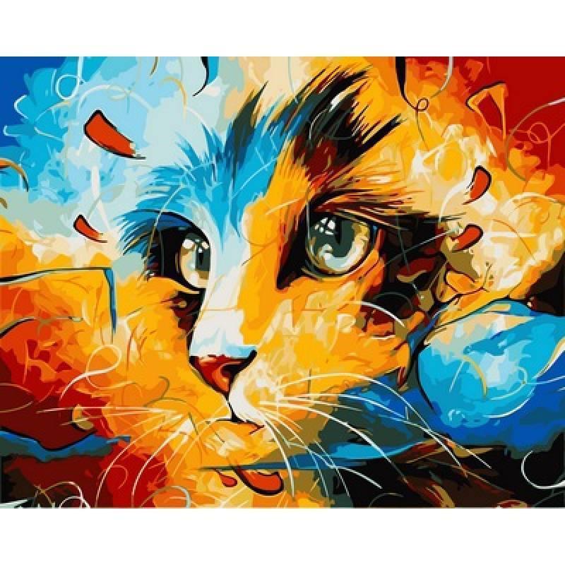Картина рисование по номерам Babylon Кошкино видение. Худ. Вахид Наушад 40х50см VP606 набор для росписи,