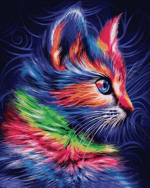 Картина рисование по номерам Babylon Разноцветный котенок 40х50см VP1252 набор для росписи, краски, кисти,