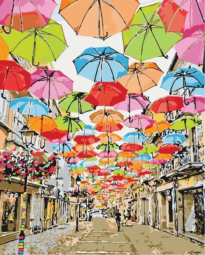 Картина рисование по номерам Идейка Яркая улочка 2 40х50см КНО3508 набор для росписи, краски, кисти, холст