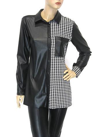 Жіноча сорочка з еко шкіри Excup, фото 2