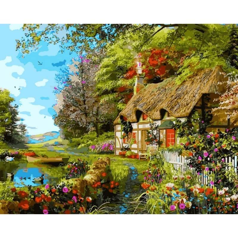 Картина рисование по номерам Babylon Загородный коттедж 40х50см VP1161 набор для росписи, краски, кисти, холст