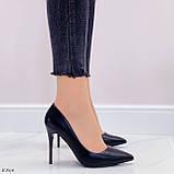 ТІЛЬКИ 40 р!!! Жіночі туфлі чорні човники на підборах 10 см еко шкіра, фото 2