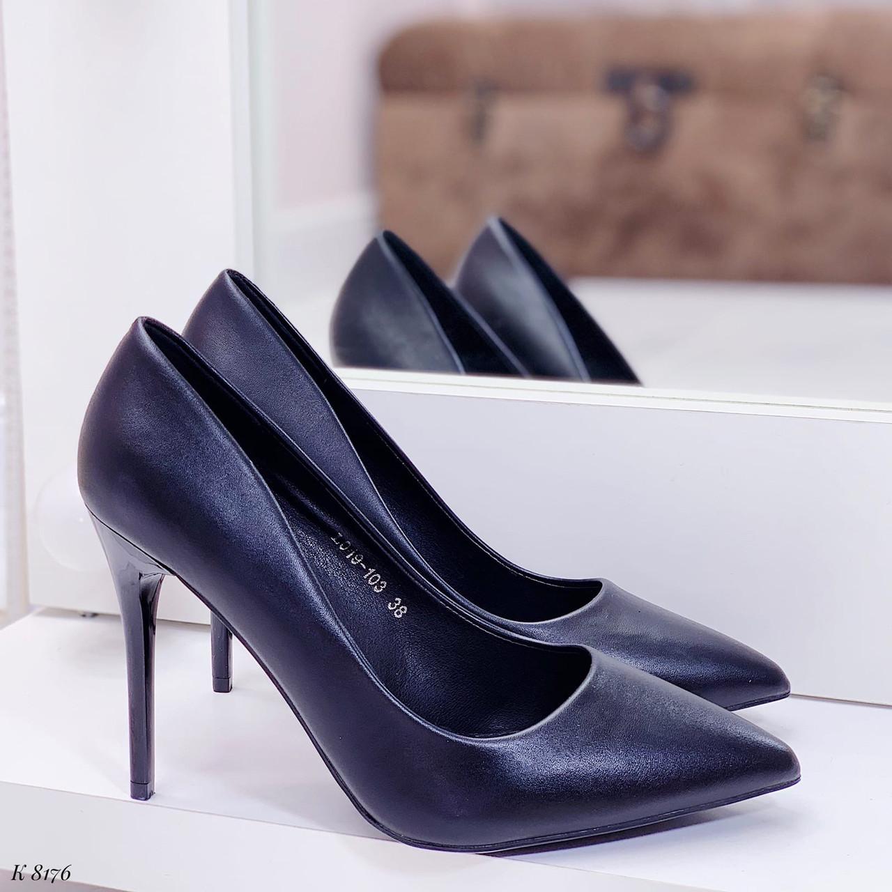 ТІЛЬКИ 40 р!!! Жіночі туфлі чорні човники на підборах 10 см еко шкіра