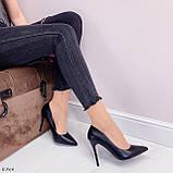 ТІЛЬКИ 40 р!!! Жіночі туфлі чорні човники на підборах 10 см еко шкіра, фото 5