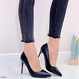 ТІЛЬКИ 40 р!!! Жіночі туфлі чорні човники на підборах 10 см еко шкіра, фото 4