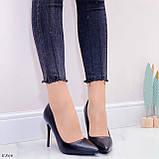 ТІЛЬКИ 40 р!!! Жіночі туфлі чорні човники на підборах 10 см еко шкіра, фото 6