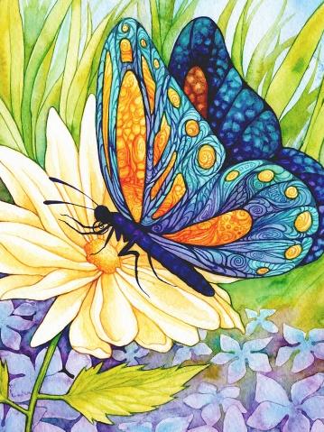 Алмазная вышивка Бабочка на цветке DM-035 Алмазная мозаика 30х40 полная зашивка, квадратные, 30цв