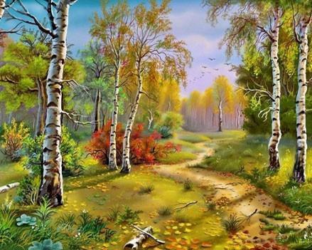 Алмазная вышивка Золотая осень DM-038 Алмазная мозаика 50x40 полная зашивка, квадратные, 25цветов