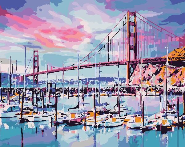 Картина рисование по номерам ArtStory Міст Золоті ворота 40х50см AS0690 набор для росписи, краски, кисти,