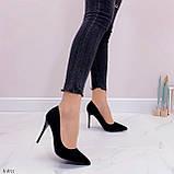 Женские туфли лодочки черные с декором на каблуке 10,5 см эко-замш, фото 8