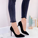 Женские туфли лодочки черные с декором на каблуке 10,5 см эко-замш, фото 7