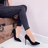 Женские туфли лодочки черные с декором на каблуке 10,5 см эко-замш, фото 9