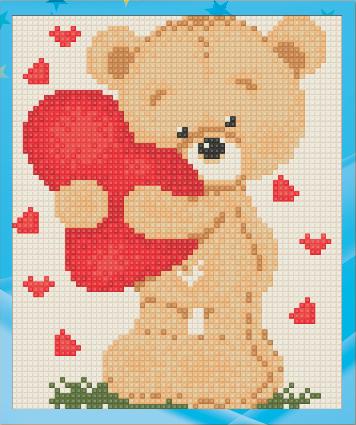 Алмазная мозаика для детей Медвежонок с сердцем UA-008 15х18см Набор алмазной вышивки 9 цв, квадр