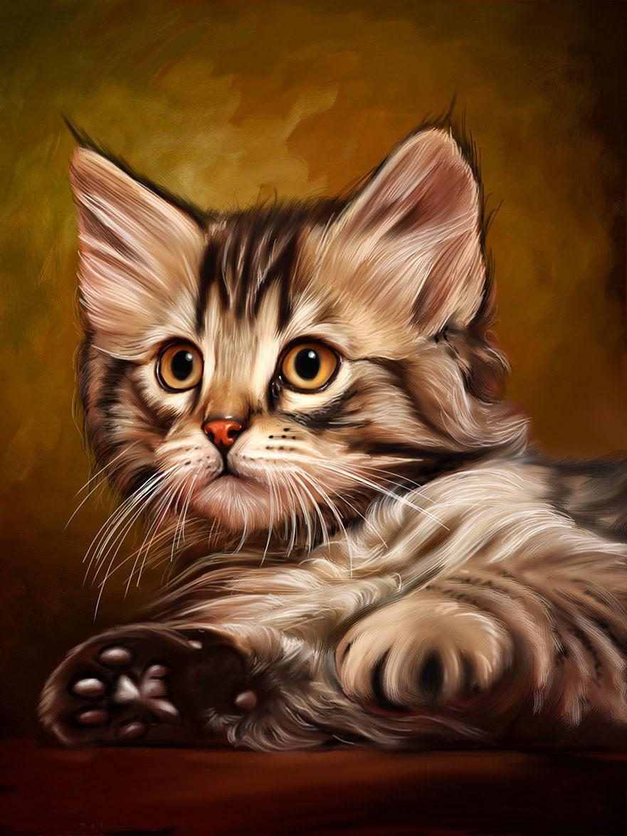 Алмазная мозаика Милый котенок 40x50см DM-194 Полная зашивка. Набор алмазной вышивки