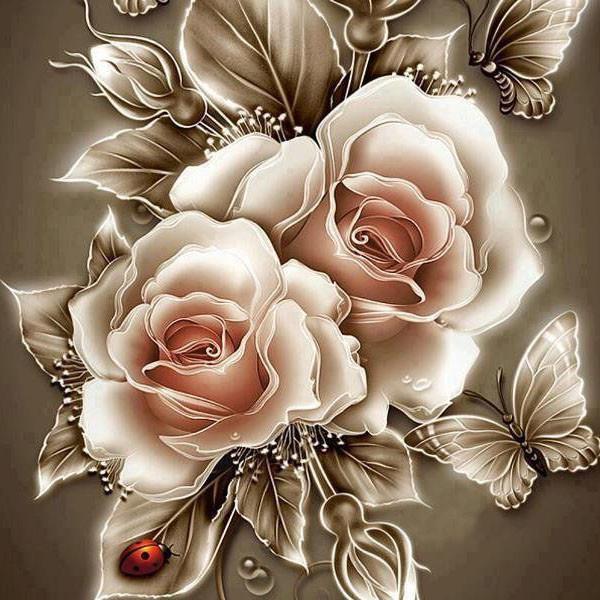 Алмазная мозаика Карамельные розы 40x40см DM-185 Полная зашивка. Набор алмазной вышивки