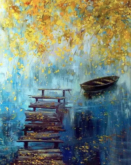 Алмазная мозаика Осень на реке 40x50см DM-269 Полная зашивка. Набор алмазной вышивки