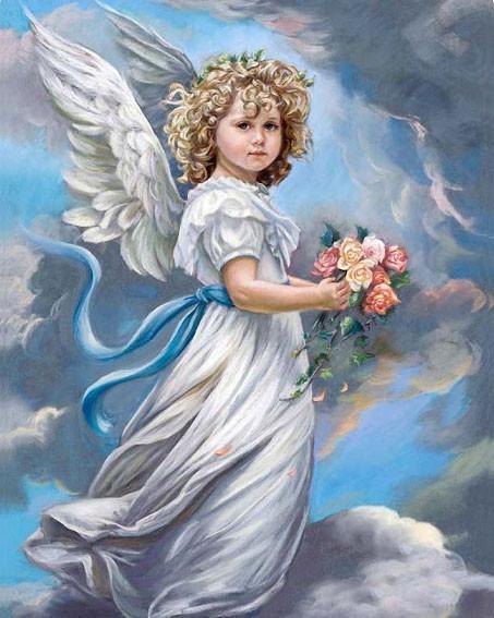 Алмазная мозаика Ангел в облаках 40x50см DM-157 Полная зашивка. Набор алмазной вышивки