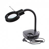 ZD-123 LED лупа-лампа настольная, с подсветкой, круглая, 3X, 8X, Ø90мм, черная Zhongdi, линза стекло