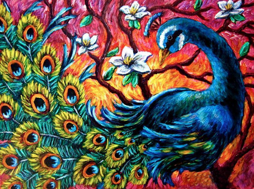 Алмазная мозаика Красочный павлин DM-303 50х40см Полная заш набор алмазной вышивки Птицы, животные