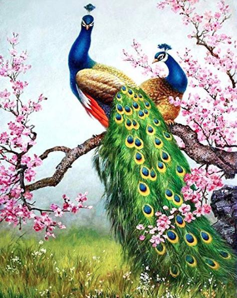 Алмазная мозаика Павлин в сакуре DM-305 40х50см Полная заш набор алмазной вышивки Птицы, животные