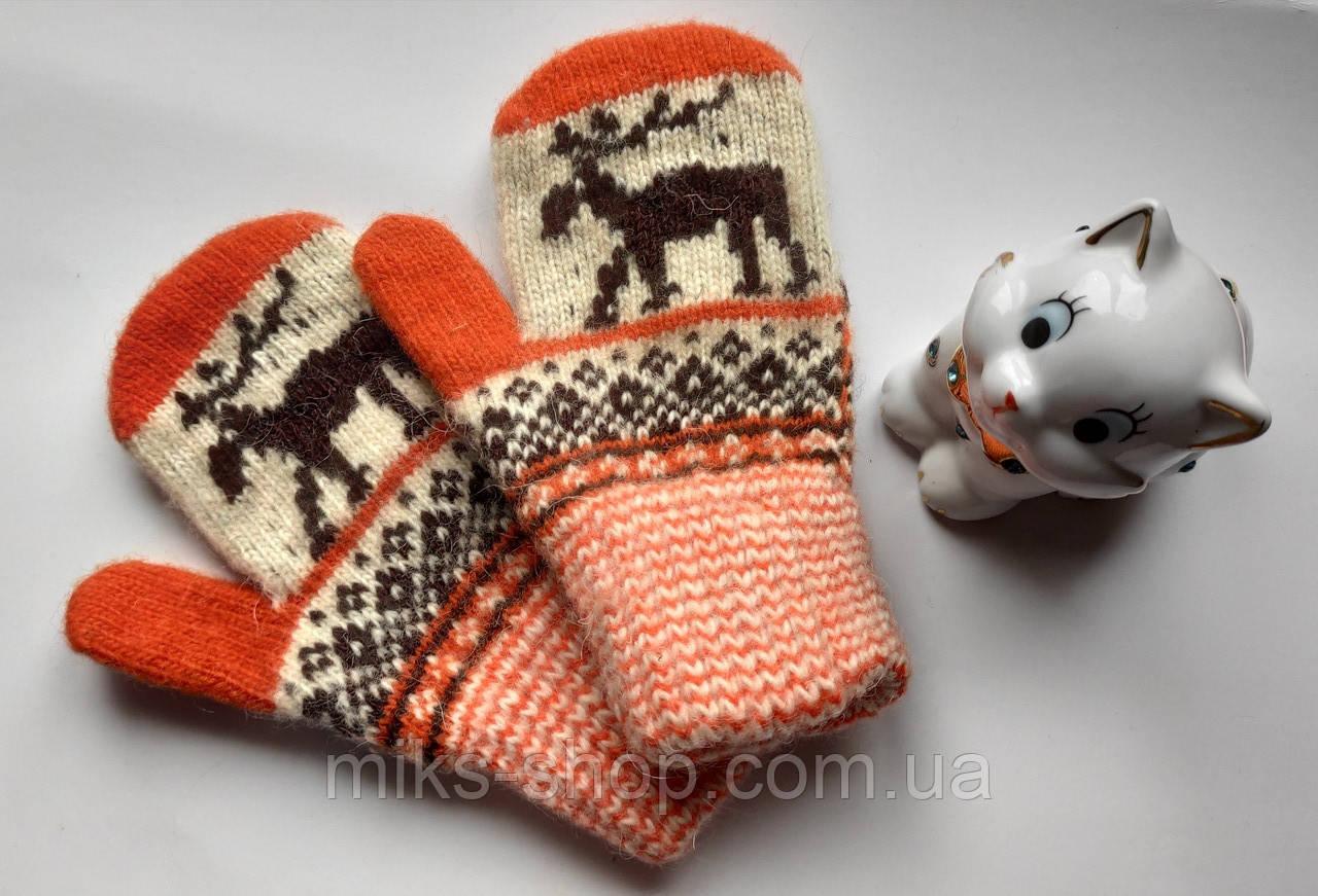 Варежки рукавиці 100 % шерсть на 5-7 р