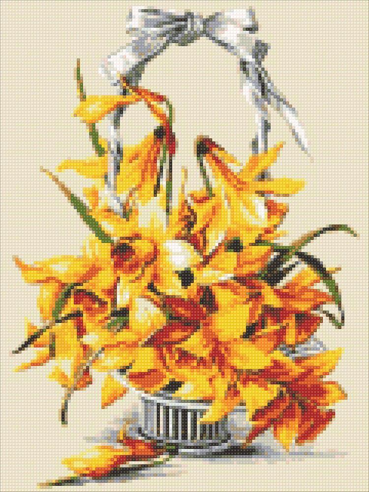 Алмазная мозаика Желтые нарцисы DM-316 30х40см Полная зашивка. Набор алмазной вышивки цветы