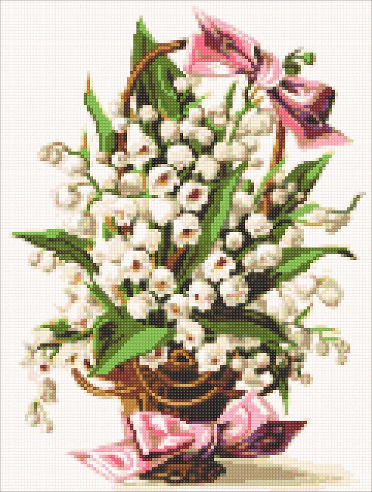 Алмазная мозаика Корзина ландышей DM-318 30х40см Полная зашивка. Набор алмазной вышивки цветы