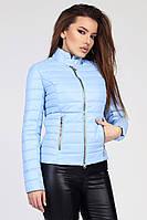 Женская демисезонная куртка короткая на молнии голубая LS-8820-11