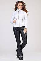 Женская демисезонная куртка короткая на молнии белая LS-8820-3