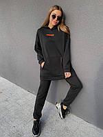 Женский прогулочный плотный зимний черный спортивный костюм на флисе / с начесом
