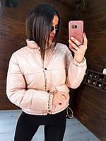 Весенняя куртка женская с накладными карманами беж