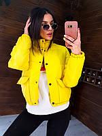 Весенняя куртка женская дутая с накладными карманами желтая